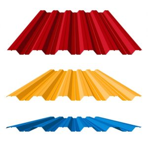 Corrugated metal roof (corrugated metal siding, profiled sheeting), vector illustration